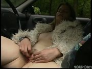Solo girl in the drivers seat / Fucking in the woods