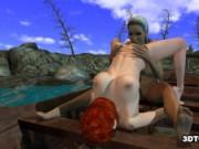 Foxy 3D lesbian babe gets licked while on a boat
