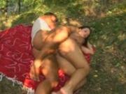 Horney babe picks up guy in the park