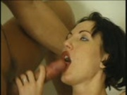 Horny brunette gets room serviced