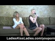 Lesbians karaoke singing and kissing