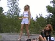2 Euro chicks enjoy the outdoors, and eachother!!