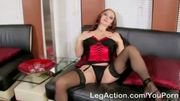 Busty cougar masturbating on the couch