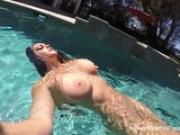 Alison Tyler masturbates in the pool
