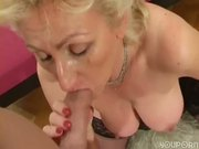 Cumshot on big mature tits