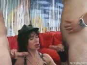 Horny mature does a twofer