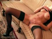 Blonde Babe Lena G. Finger Bangs Her Pussy in Black stockings and heels
