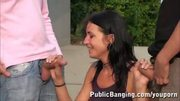 BIG Boobed Girl In PUBLIC Threesome PART 1