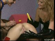 These Leathery Lesbos Really Love The Cock. (Clip)