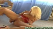Blonde Stacy G plays jams vibrator in pussy