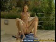 Skinny babe with long legs fucked by the pool