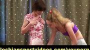 Lesb trainer seduces shy gymnast