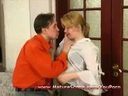 Young guy lick, fuck and fingering Old Mature babe
