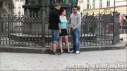 Famous statue teen PUBLIC threesome Part 1