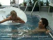 English nudist fucks by the pool