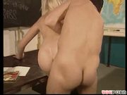 Hot blonde student gets a-head in biology with the professor.