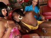 Six chicks in the interracial lesbian orgy
