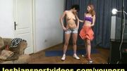 Lesbian instructor kisses trainee