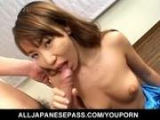 Hirai Chisato swallows after handjob scene