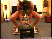 Amateur from the street sits on the Sybian