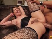 Fishnet tgirl assfucked before facial
