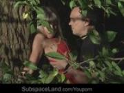 Very sexy Gina bound with ropes and hard fucked in the forest