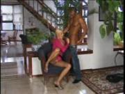 Blonde in fishnets gives a great blowjob