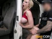 Fake Cop Busty blonde fucked in junk yard