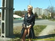 sweet young girl pissing on street