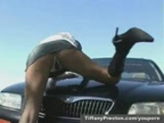 Outdoor strip tease with Tiffany Preston