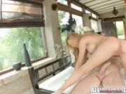 Allinternal pretty blonde sucks cock and takes a creampie