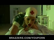 BUSTY BRUNETTE LATEX NURSE IN HEELS DEEP FUCK PATI