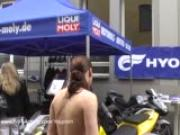 Crazy flasher has fun in public streets