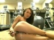 Her Pussy Gets Very Creamy Masturbating in Gym