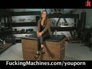 Busty cutie gets off on sex machines!