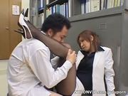 office lady handjob in nylon pantyhose