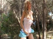 Lea in the woods with white panties