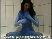 Lisa take a bath in spandex