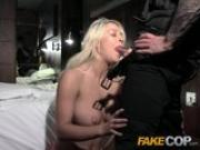 Fake Cop Hotel room blonde surprise for cop