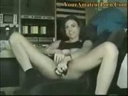 Gorgeous amateur pleasuring herself on the chair