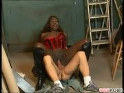 Wood shop worker sports his own wood for chocolate hottie (clip)