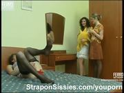 Two ladies strapon fucking sissy guy