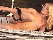 Blonde babe Sweet Cat is being naughty on the bed
