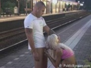 MILF fucked at a TRAIN STATION