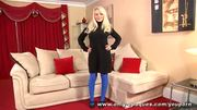 Sexy blonde Elena C removes her minidress