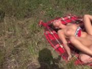 Exciting outdoor fucking for sexy teen with big tits