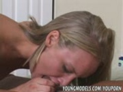 Tall thin cute Blonde wrestles a Monster Cock 