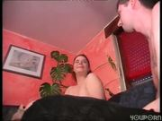 Cougar in leopard panties and bra joins in