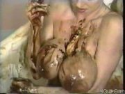 Big titted hottie takes a bath of food - Pt. 4/4