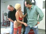 Hot red undies on big busted blonde